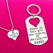 New Letter Heart Keychain Key Ring Necklace Daddy Daughter Dad Father Girls Gift