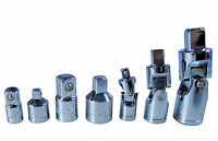 7 Piece Universal Joint and Adaptor set - socket convertor reducer 1/4 3/8 1/2
