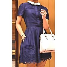 Jack Wills Navy Blue Brodie Cotton Shirt Dress Contrast Collar UK 4 US 0 CB52