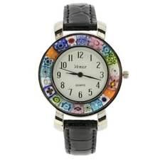 GlassOfVenice Serena Murano Millefiori Watch With Leather Band - Black