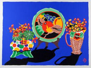 Greg IRVINE Still Life - Big Original Signed Screenprint, Art Deco, Blue Floral