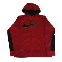 VTG 90s Nike Hoodie Mens Small Center Swoosh Therma-Fit Red Black Sweatshirt OG