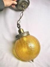 Large Mid Century Amber Crackle Glass Ball Hanging Lamp Light Fixture Works Mint
