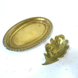 2x Brass Ornaments Small Dish Leaf Oval Tray Vintage Metalware Collectable B11