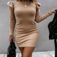 Women Sexy Knit Bodycon Slim Waist Dresses Pure Color Long Sleeve Bag Hip Dress