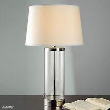 LARGE CLEAR GLASS BASE BEDSIDE TABLE LAMP DESK LIGHT E27 SAA H60 W36CM 3.5KG