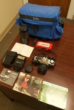 Canon AE-1 Program SLR camera bundle 2 Lenses Camera Flash Manuals 50mm 1:1.8 FD