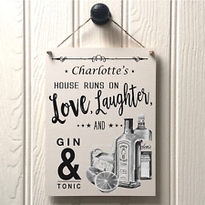HANDMADE personalised GIN & TONIC sign - new home best friend MOVING IN GIFT 242