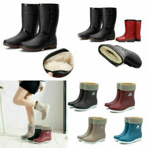 Damen Wasserdicht Gummistiefel Regenstiefel Winter Warm Gefüttert Stiefel Boots*