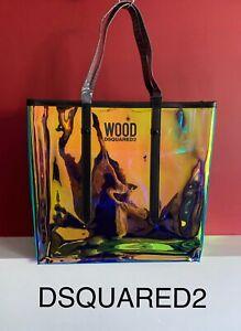 DSQUARED 2 WOOD Mirrored PVC TOTE HANDBAG BAG BEACH BAG WITH DUST BAG New!!