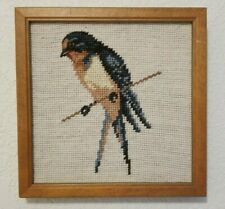 Swallow Bird Completed Needlepoint Petit Point Framed Picture 8x8