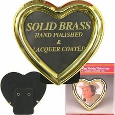 "Heart Shape Brass Picture Frame 3"" x 3"" Polished & Lacquered Coating 3x3 NIB"