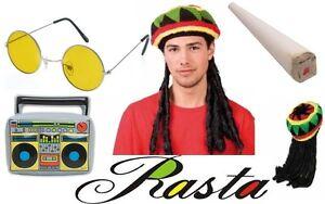 NEW RASTA JAMAICAN HAT WIG DREADLOCKS FAKE SPLIFF INFLATABLE BOOM BOX & GLASSES