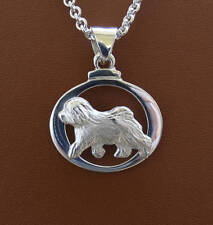 Small Sterling Silver Old English Sheepdog Moving Study On A Horizontal Oval