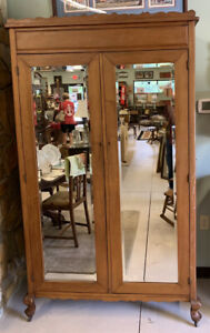Armoire Wardrobe with Full Length Beveled  Mirrors