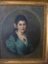 PORTRAIT einer jungen Dame Frankreich um 1900 Öl/Lw. Prunkrahmen Empire