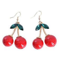 Vintage Red Cherry Drop Dangles Earrings Rockabilly Fun Cute 50s Jewellery