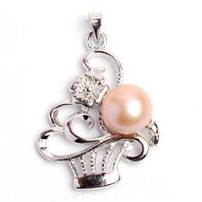 Fashion Black White Pink Purple Genuine Akoya Pearl Flower Pendant Necklace