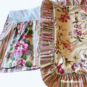 Waverly Cabbage Rose Floral Stripe Shabby Chic FULL Pillow Sham Bedskirt Cottage