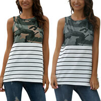 US Womens Summer Sleeveless Tank Top Camo Casual Loose Tunic T Shirt Long Blouse