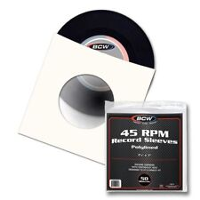 Case (1000) BCW 45 RPM POLYLINED Paper RECORD SLEEVES Square Corners With Hole