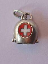 Swiss Alpine bell, vintage silver travel charm