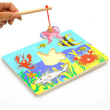 Educational Fishing Wooden Magnetic 3D Jigsaw Funny Game Toy For Kids GYTH