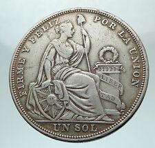 1923 Peru South America 1 Sol Antique Big Original Silver Peruvian Coin i80313
