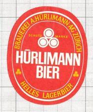SWITZERLAND Brauerei A.Hurliman,Zurich Helles Lager (2) beer label C1654