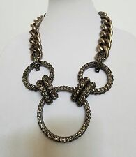 Lanvin Three Ring Rhinestone Gunmetal Ribbon Tie Necklace**Amazing**
