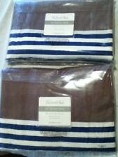 "NIP  The Land of Nod Navy/White Striped w Gray Curtain Panel Set  44"" x 63"""