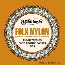 D'Addario EJ33 folk/Clásica Cuerdas de Guitarra Nylon/Bronce Ball final claro triples