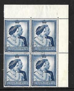 GB - 1948 - '' £1 Silver Wedding '' - VFU Corner Block of 4 - SG 494 - Superb
