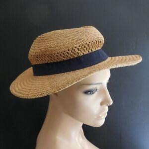 Chapeau paille jaune bleu fait main mode vintage 1950 femme homme France N6349