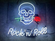 "Rock Roll Skull Neon Signs Room Shop Beer Bar Gift Decor Neon Sign UK 18""x16"""