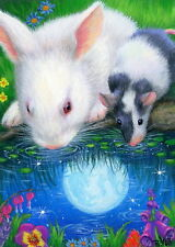 Bunny rabbit mouse drinking pond moon flowers fantasy OE aceo print art