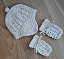 Handmade Hand Crocheted Baby Unisex Cable+Earflaps Hat & Mitts  Various Colours