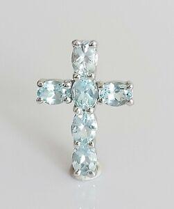 Beautiful 9K 9ct White Gold & Natural Aquamarine Cross Pendant Necklace