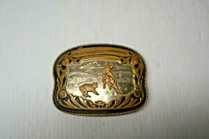 COMSTOCK SILVER Vintage Rodeo Calf Roping Belt Buckle