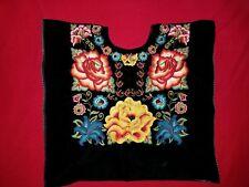 Tehuana Huipil Frida Kahlo Style Black Velvet multicolor Floral Embroidery NWOT