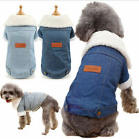 Pet Dog Clothes Winter Denim Jacket Puppy Dog Cat Warm Windproof Collar Coat