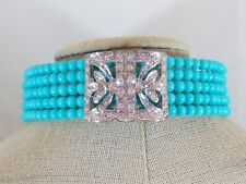 """Rhinestone Centerpiece Turquoise Color 5 Row Beaded Coil Collar Necklace 12"""" L"""