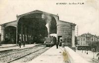 CPA 30 NIMES LA GARE (avec le train