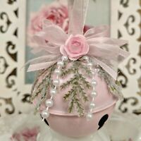 Shabby Cottage Victorian Chic Sleigh Jingle Bell Pink Roses Christmas Ornament