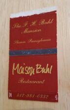 Vintage Matchbook Maison Buhl Restaurant Sharon Pennsylvania F H Collectible PA