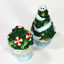 Mary Engelbreit Home Sweet Home 2Pc Salt & Pepper Set Christmas Tree Planter Mib