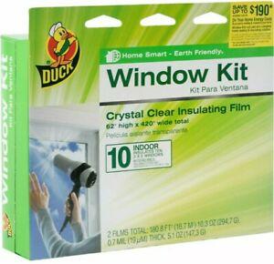 DUCK WINDOW KIT..CRYSTAL CLEAR INSULATING FILM ..10 INDOOR 3' X 5' window kit!