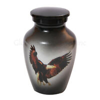 Personalised Memorial Urns, Gray with Bald Eagle Mini Keepsake Urn Funeral Ashes
