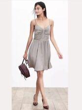 NWT Banana Republic Women's Shirred Dress Spaghetti Straps Size 14 $138 Grey