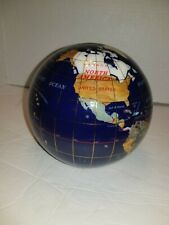 Semi Precious Gemstone World Globe Bookends, Inlaid Gems Stone